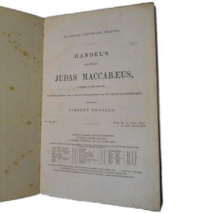 Judas Maccabaeus by G.F.Handel - Novello's Edition